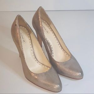 Coach High Heels Pointed Toe Silver Gold Size 9B